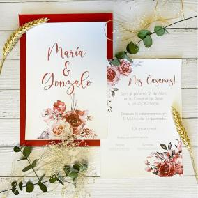 Invitación Boda Color Vino
