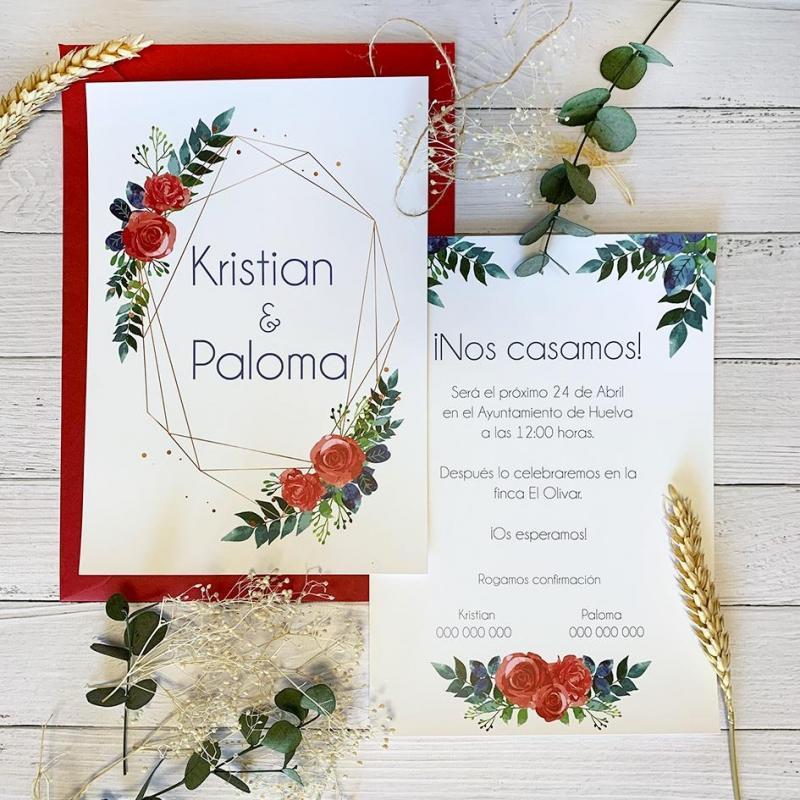 Invitación Rojo y Azul Floral