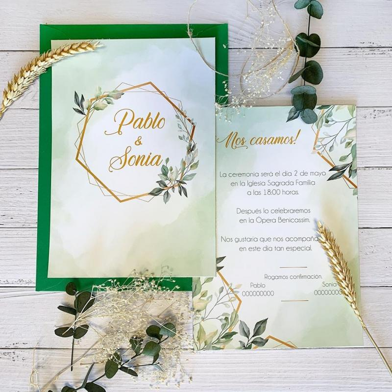 Invitaciones Boda Verde Manzana