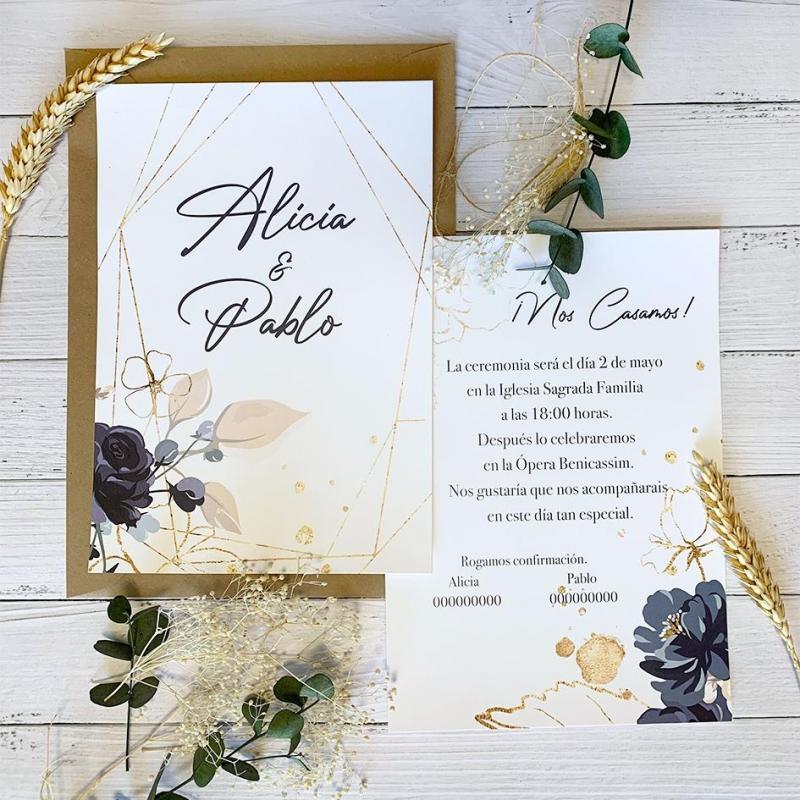 Invitación Boda Rosas Negra