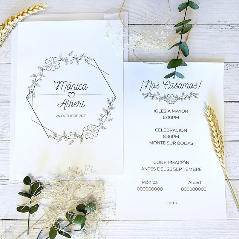 Invitación Flores Minimalista