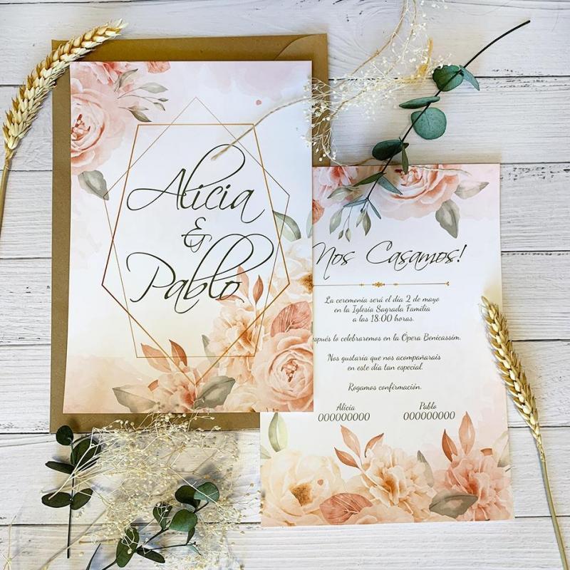 Invitaciones de Boda Rosa Pastel