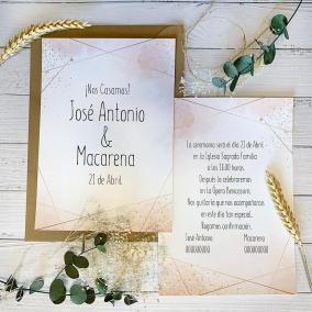 Invitaciones Boda Rosa y Dorado