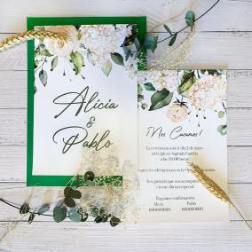 Invitación Rosas y Hortensias Blancas