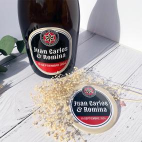 Pack Abridor Boda Personalizado + Adhesivo Cerveza