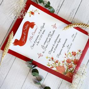 Invitación flores rojas