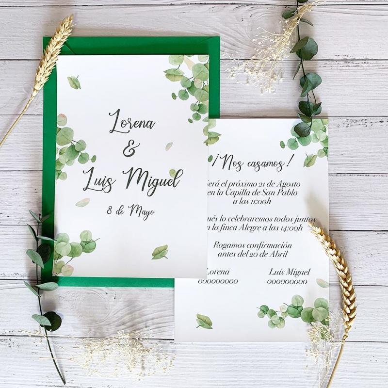 Invitación Verde Eucalipto