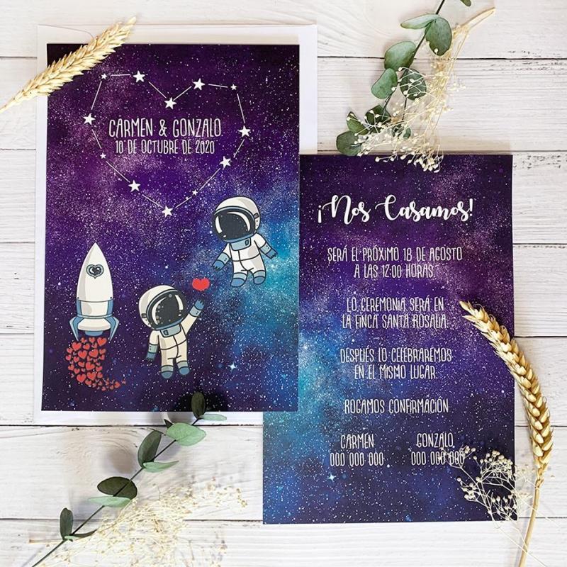 Invitación de Boda Original Estrellas