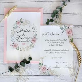 Invitación Romántica Rosa