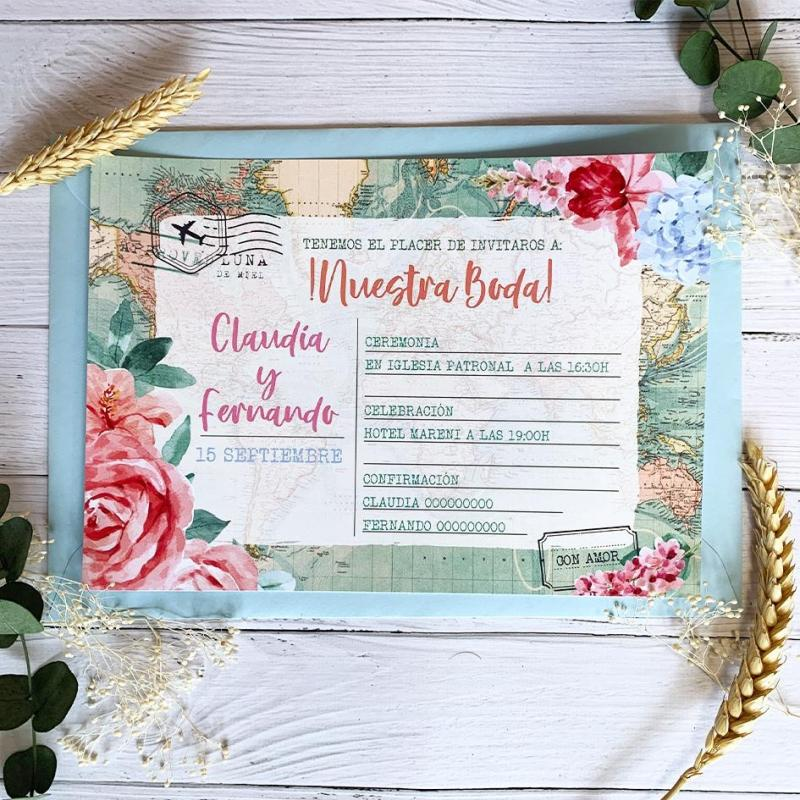 Invitación Boda Mapa Floral