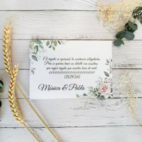 Tarjeta Agradecimiento Rosa Elegante