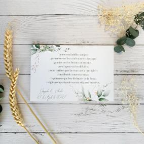 Tarjeta de agradecimiento Floral Oro
