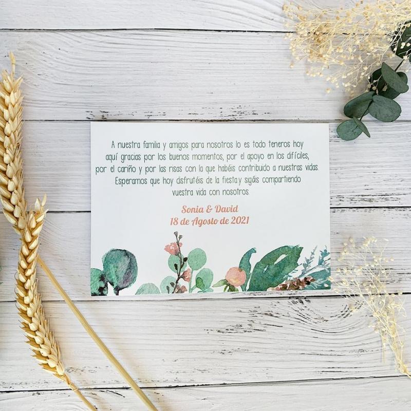 Tarjeta de Agradecimiento para Boda