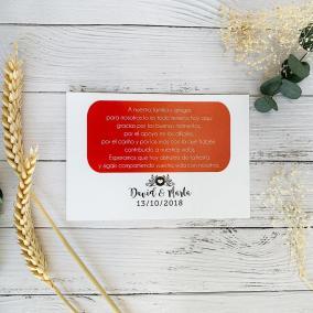 Tarjeta de agradecimiento Moderna Roja