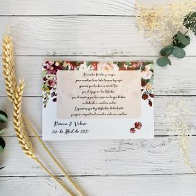 Tarjeta de agradecimiento Flores Rojas