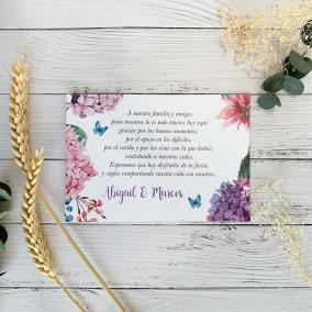 Tarjeta de agradecimiento Hortensias