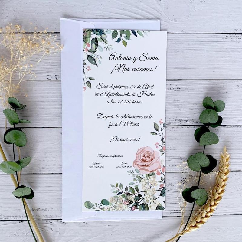 Invitación Boda Elegante Rosa Alargada