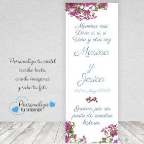 Banner de flores con ventana