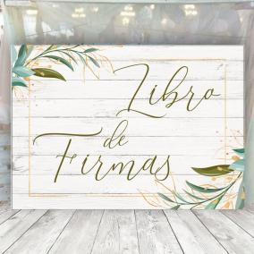 Cartel Libro de Firmas Flor Verde