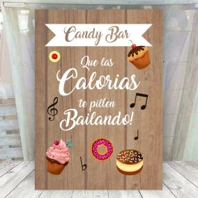 Cartel madera candy bar