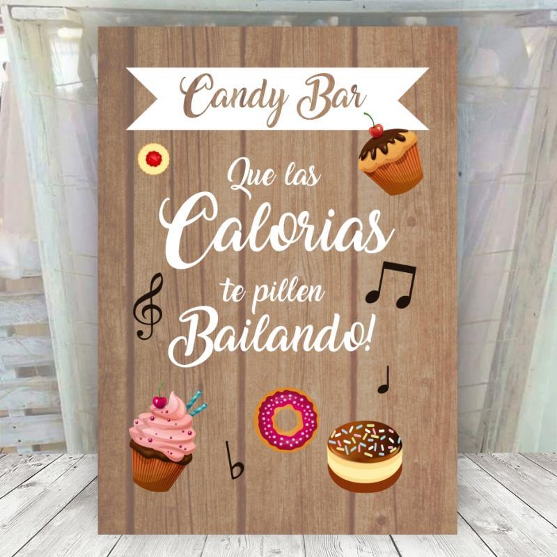 Cartel madera candy bar