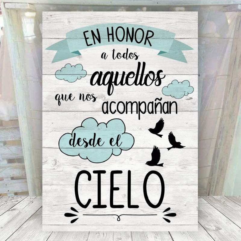 Cartel en honor a los del cielo