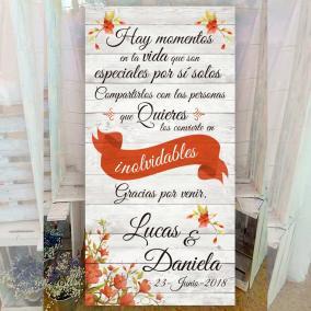 Cartel bienvenida flores rojas