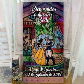 Cartel para bodas bella y bestia