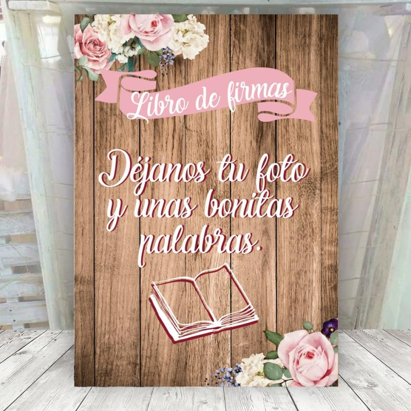 Cartel romantico para el libro de firmas
